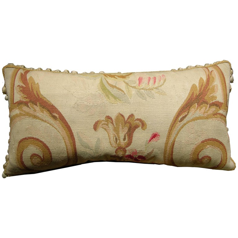 Antique French Aubusson Tapestry Pillow, circa 1860 1188p For Sale