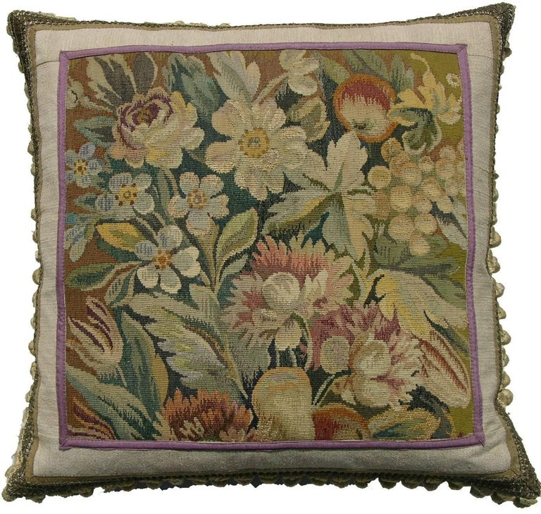 Antique French Aubusson Tapestry Pillow, circa 1860 1316p For Sale