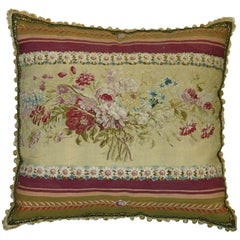 Antique French Aubusson Tapestry Pillow, circa 1860 191p