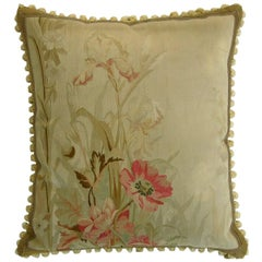 Antique French Aubusson Tapestry Pillow, circa 19th Century 649p