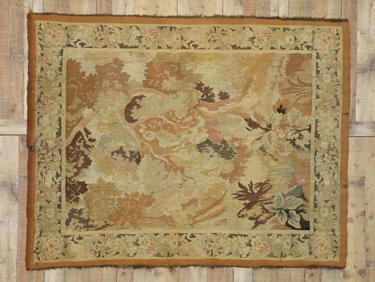 Antique French Aubusson Verdure Tapestry, Landscape Scene Wall Hanging For Sale 2
