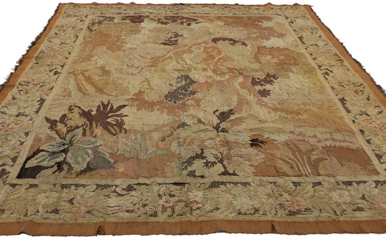 French Provincial Antique French Aubusson Verdure Tapestry, Landscape Scene Wall Hanging For Sale