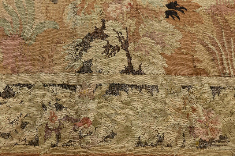 Hand-Woven Antique French Aubusson Verdure Tapestry, Landscape Scene Wall Hanging For Sale