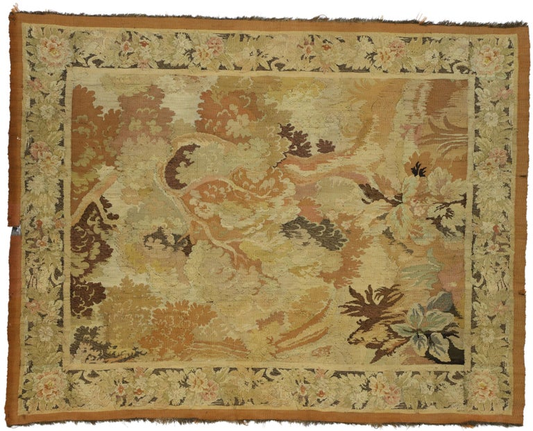 Antique French Aubusson Verdure Tapestry, Landscape Scene Wall Hanging For Sale 3
