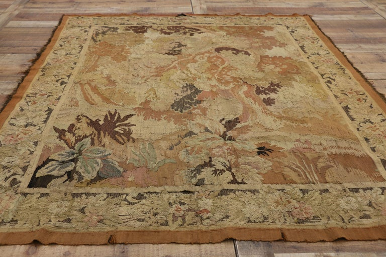 Wool Antique French Aubusson Verdure Tapestry, Landscape Scene Wall Hanging For Sale