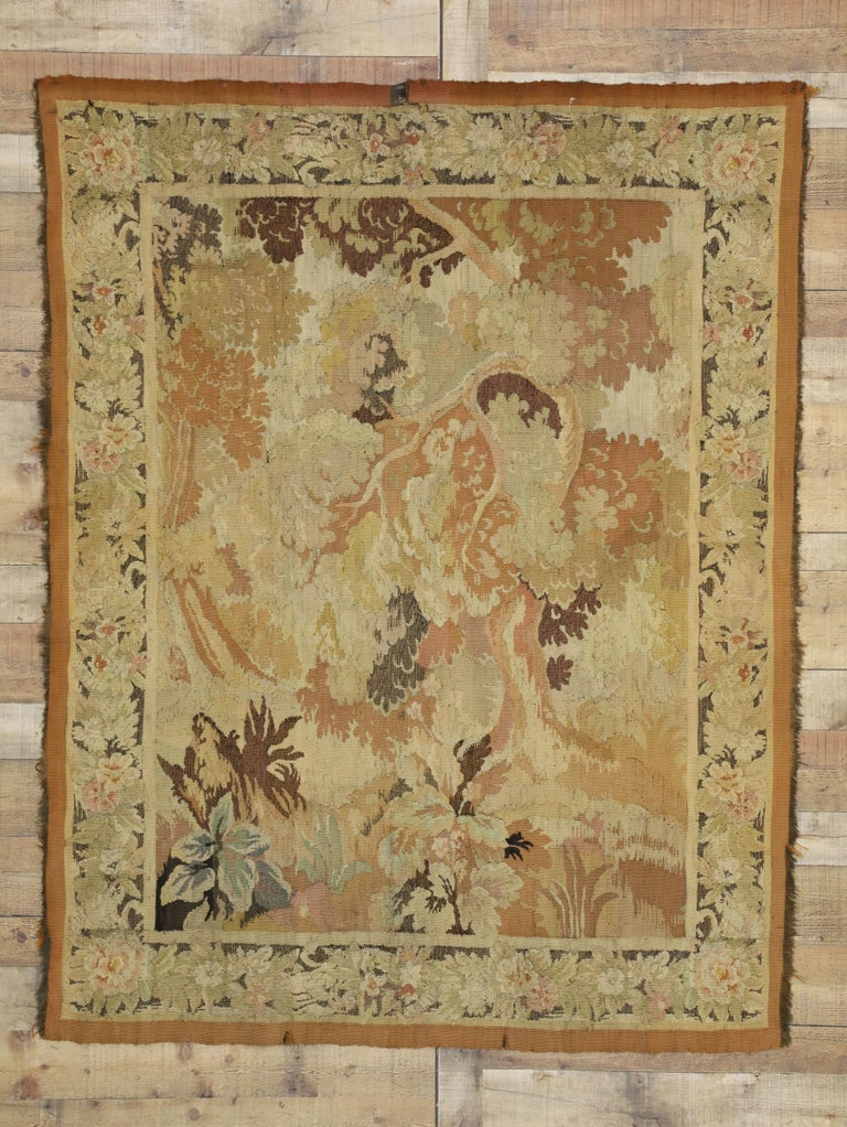 Antique French Aubusson Verdure Tapestry, Landscape Scene Wall Hanging For Sale 1