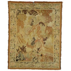 Antique French Aubusson Verdure Tapestry, Landscape Scene Wall Hanging