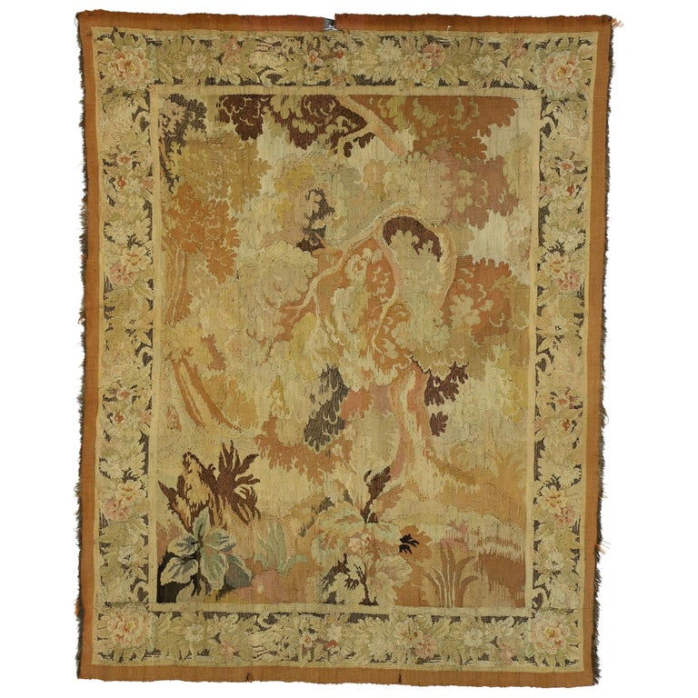 Antique French Aubusson Verdure Tapestry, Landscape Scene Wall Hanging For Sale