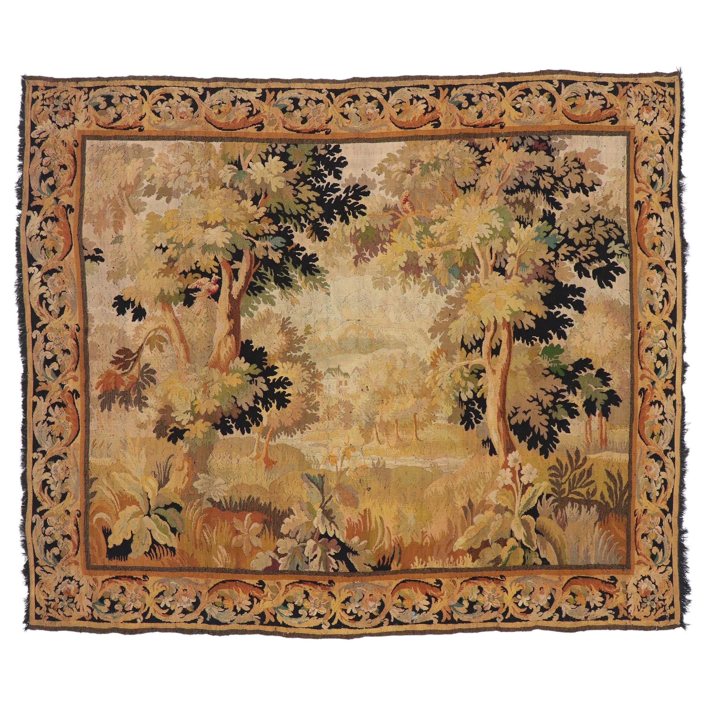 Antique French Aubusson Verdure Tapestry with Traditional Old World Style