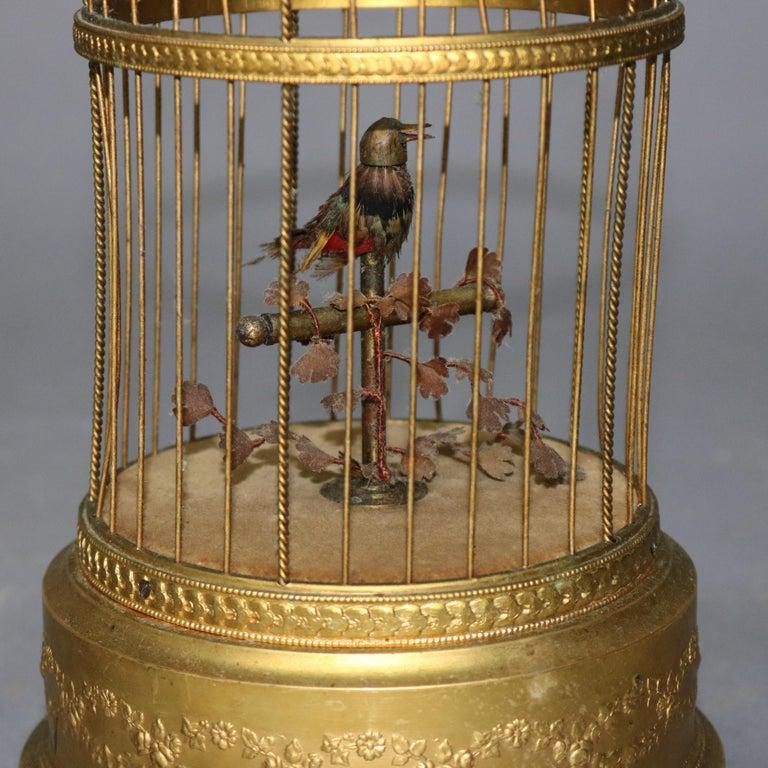 Antique French Automaton Singing Bird in Brass Cage, Music Box, circa 1880 1
