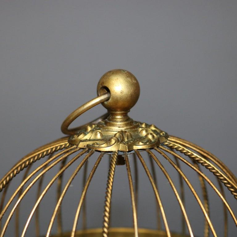 Antique French Automaton Singing Bird in Brass Cage, Music Box, circa 1880 2