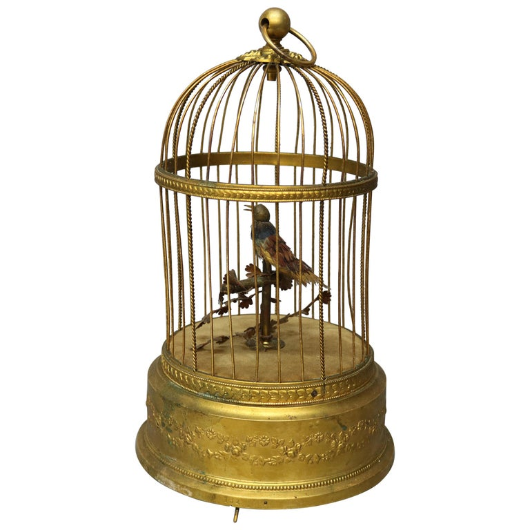 Antique French Automaton Singing Bird in Brass Cage, Music Box, circa 1880