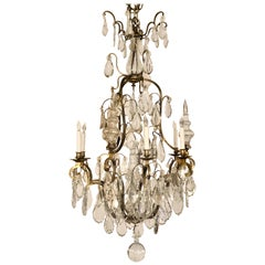 Antique French Baccarat Crystal and Bronze Chandelier, circa 1880