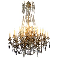 Antique French Baccarat Crystal and Bronze Dore 30-Light Chandelier