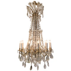 Antique French Baccarat Crystal and Bronze D'Ore Chandelier, circa 1890