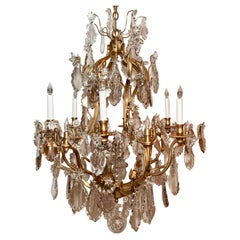 Antique French Baccarat Crystal and Gold Bronze Chandelier, Circa 1880
