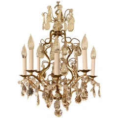 Antique French Baccarat Crystal and Gold Bronze Chandelier, circa 1890-1910