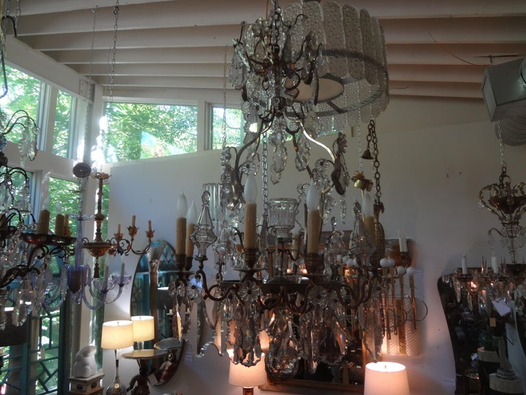 Antique French Baccarat Style Bronze and Crystal Chandelier For Sale 7