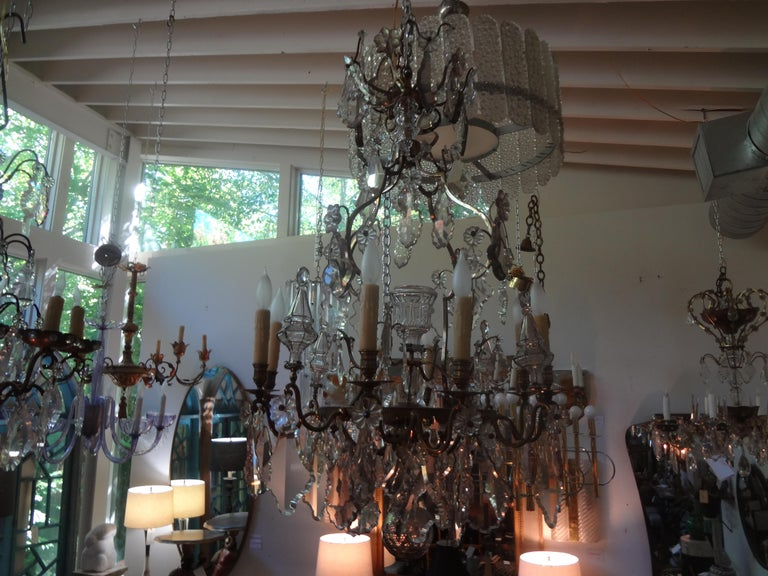 Antique French Baccarat Style Bronze and Crystal Chandelier For Sale 8