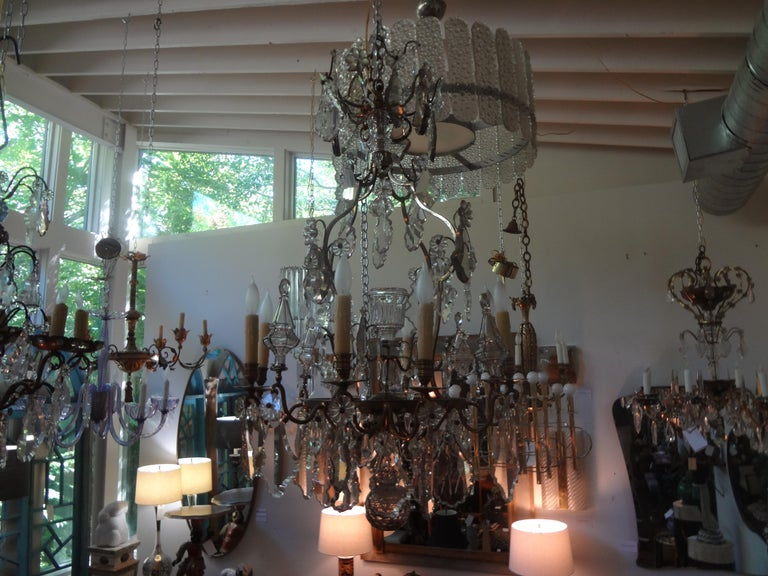 Antique French Baccarat Style Bronze and Crystal Chandelier For Sale 9
