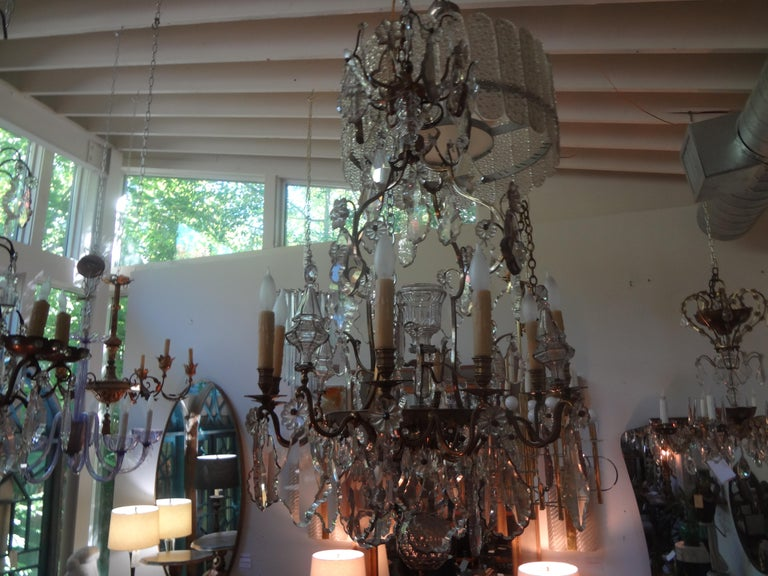 Antique French Baccarat Style Bronze and Crystal Chandelier For Sale 10
