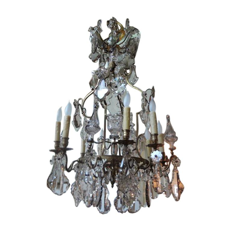 Louis XVI Antique French Baccarat Style Bronze and Crystal Chandelier For Sale