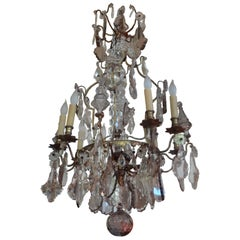 Antique French Baccarat Style Bronze and Crystal Chandelier