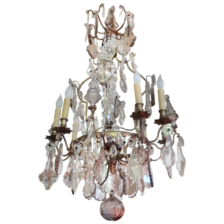 Antique French Baccarat Style Bronze and Crystal Chandelier For Sale