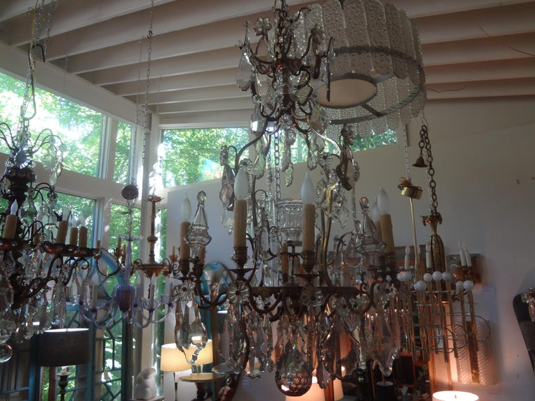 Antique French Baccarat Style Bronze and Crystal Chandelier In Good Condition For Sale In Houston, TX