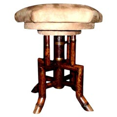 Antique French Bamboo Swivel Stool