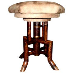 Antique French Bamboo Vanity or Piano Swivel Stool