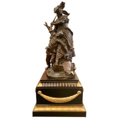 "Antique French Barbedienne Bronze Sculpture ""Quand Même"" by Antonin Mercié, 1884"