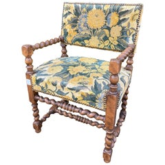 Antique French Barley Twist Armchair with Floral Upholstery, circa 1900