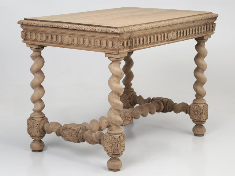 Antique French Barley Twist Oak Ladies Writing Desk, End Table or Side Table For Sale 13