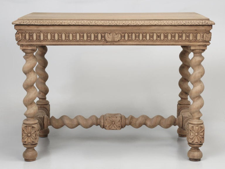 Antique French Barley Twist Oak Ladies Writing Desk, End Table or Side Table For Sale 14