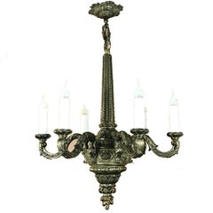 Antique French Baroque Bronze Chandelier
