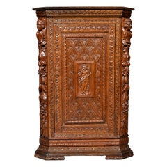Antique French Baroque Carved Oak Corner Cabinet, circa 1780