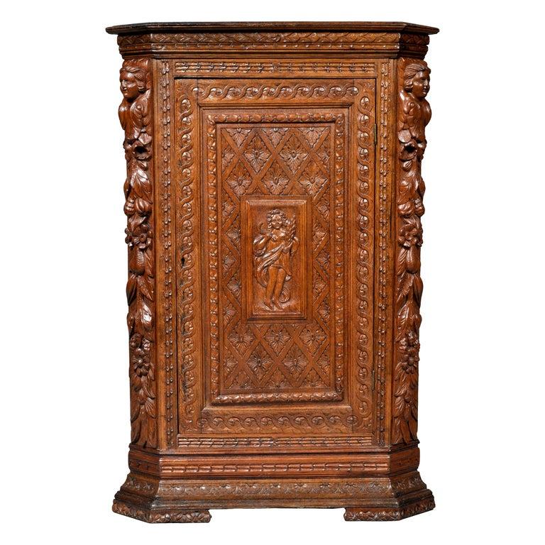 Antique French Baroque Carved Oak Corner Cabinet, circa 1780 For Sale