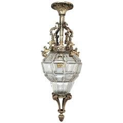 Antique French Baroque Crystal & Bronze Lantern Chandelier