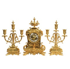 Antique French Baroque Gilt Bronze Clock Set by Japy Freres