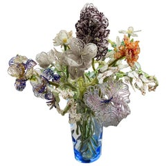 Antique French Beaded Crystal Flower Bouquet, Midcentury Swedish Glass Vase