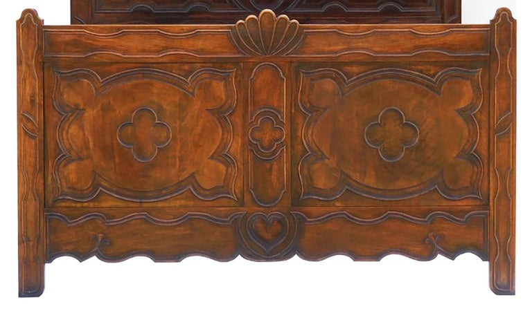 Early 20th Century Antique French Bed US Queen or UK King-Size Carved Walnut Arts & Crafts