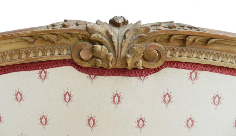 Antique French bed US Queen or UK king-size 19th century Louis XVI c1850 to recover Upholstered Shown here with its original covers that are easily changed to suit your interior if you would like this done before shipping please ask for more