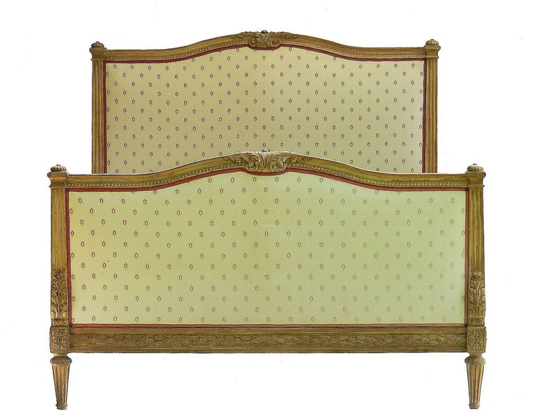 Carved Antique French Bed US Queen UK King Size 19th Century Louis XVI c1850 to recover For Sale