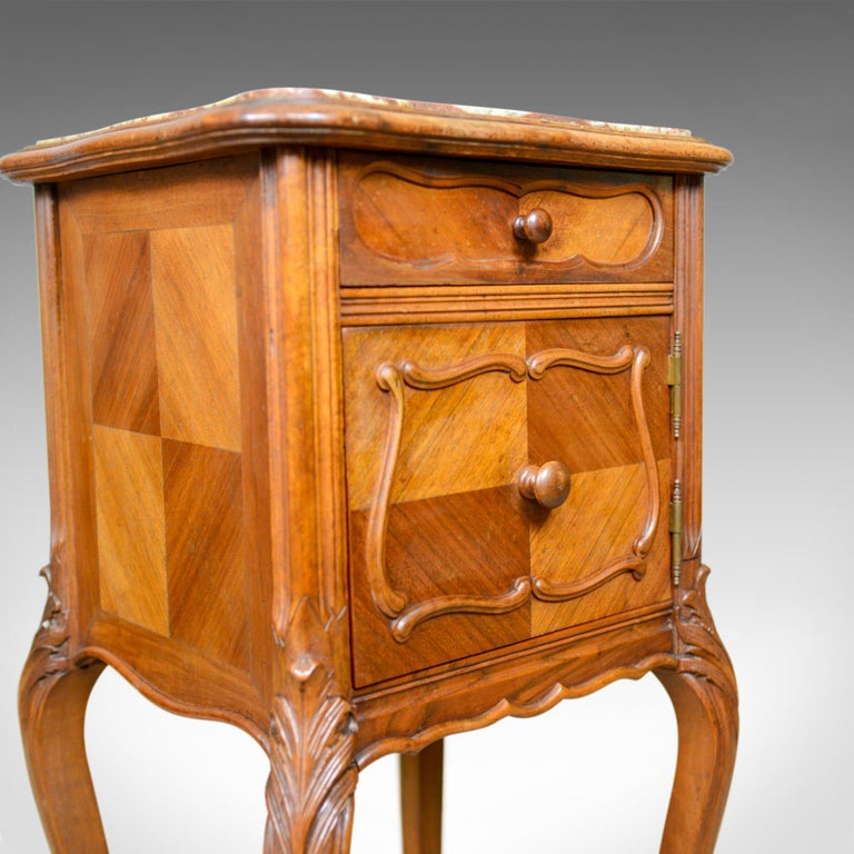 Antique French Bedside Cabinet Victorian Walnut Marble
