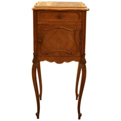 Antique French Bedside Nightstand, Oak with Marble, circa 1880