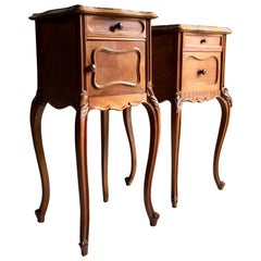 Antique French Bedside Tables Nightstands Marble Pair Victorian, 1875