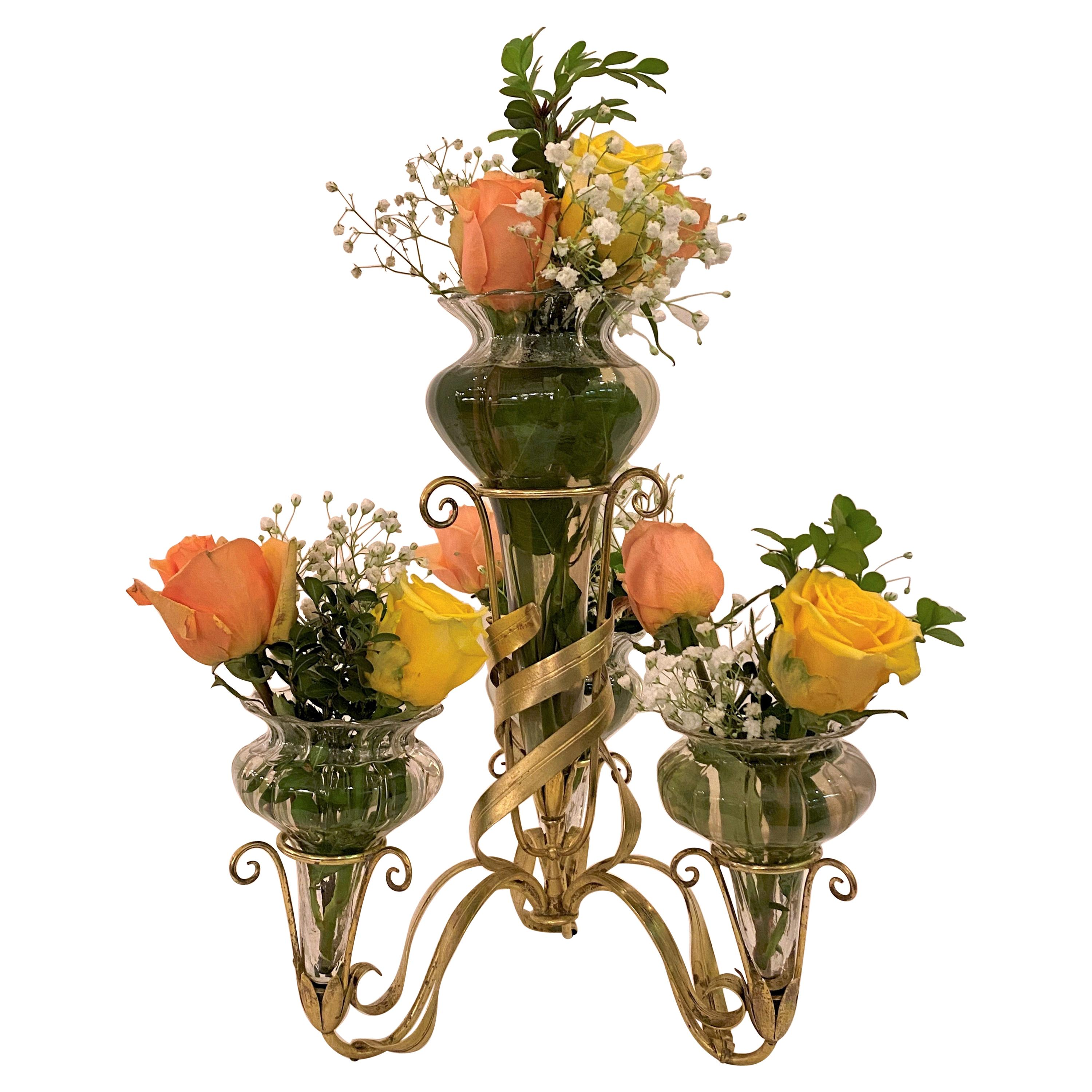 Antique French Belle Epoch Crystal and Gilt Floral Epergne, circa 1880