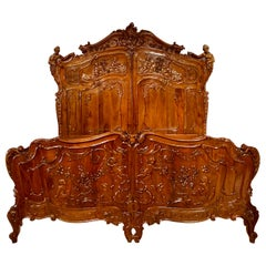 Antique French Belle Epoch Era Magnificently Carved Walnut Master Bed circa 1880