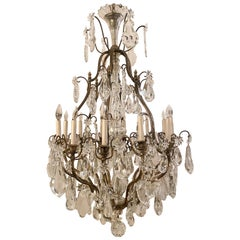 Antique French Belle Epoche Crystal and Silvered Bronze Chandelier, circa 1890s